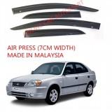 AG Air Press Door Visor Wind Deflector (Made in Malaysia) - Small 7 cm Width for HYUNDAI ACCENT YR2004