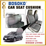 Nissan Livina - Custom Fit OEM Car Seat Cushion Cover PVC Black Colour Shining With Red Line