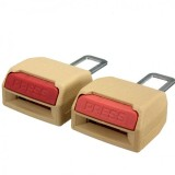 2x Universal Car Seat Belt Extender Support Buckle Alarm Stopper Canceller Beige
