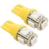 T10 LED 5 LED Light Bead SMD LED Car Interior Light Bulb Yellow - 1 Pair
