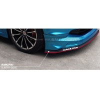Samurai Skirt Lip Universal Car Front Lip Bumper Rubber Strip-Black with Red line