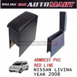 Armrest PVC Red Line For Nissan Livina Yr 2008