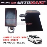 Carbon Red Line Armrest With Drink Holder For Perodua Bezza