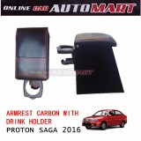 Carbon Red Line Armrest With Drink Holder For Proton Saga 2016