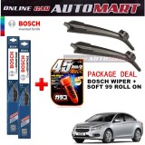 Chevrolet Cruze - (PACKAGE DEAL)Bosch Clear Advantage Wiper Blade with Soft99 Glaco Roll On RAIN REPELLANT - 18 inch & 24 inch