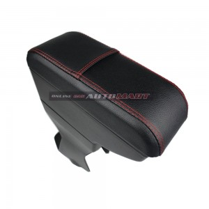 Perodua Axia PVC Arm Rest Armrest Console Black Leather Red Stitching