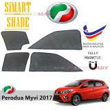 Simart Shade Magnetic Custom Fit OEM Sunshade For Perodua Myvi 1.3/1.5 3rd Gen Yr 2017 6pcs (Made In Malaysia)