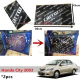 2PCS Carrozzeria High Quality Sound Damping Car Bonnet Door Sound Proof Proofing Deadening Insulation For Honda City 2003-2007