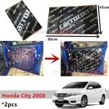 2PCS Carrozzeria High Quality Sound Damping Car Bonnet Door Sound Proof Proofing Deadening Insulation For Honda City 2008-2013