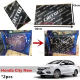 2PCS Carrozzeria High Quality Sound Damping Car Bonnet Door Sound Proof Proofing Deadening Insulation For Honda City 2014-2017