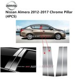 Nissan Almera Yr 2012-2017- Car Chrome Door Window Pillar Trim Panel Chrome Stainless Steel (1 Set)