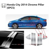 Honda City Yr 2014 6 Generation- Car Chrome Door Window Pillar Trim Panel Chrome Stainless Steel (1 Set)