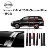 Nissan X-Trail Yr 2008- Car Chrome Door Window Pillar Trim Panel Chrome Stainless Steel (1 Set)