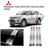 Mitsubishi Triton Yr 2010-2015- Car Chrome Door Window Pillar Trim Panel Chrome Stainless Steel (1 Set)