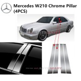 Mercedes W210-E Class- Car Chrome Door Window Pillar Trim Panel Chrome Stainless Steel (1 Set)