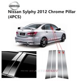 Nissan Sylphy Yr 2012- Car Chrome Door Window Pillar Trim Panel Chrome Stainless Steel (1 Set)