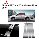 Mitsubishi Triton 4 Doors 2016- Car Chrome Door Window Pillar Trim Panel Chrome Stainless Steel (1 Set)