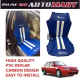 Sparzo Kevlar Carbon 3D Seat Cushion Seat Mat 1 Pc MADE IN THAILAND (BLUE+WHITE LINE) For PROTON SAGA (OLD)