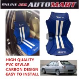 Sparzo Kevlar Carbon 3D Seat Cushion Seat Mat 1 Pc MADE IN THAILAND (BLUE+WHITE LINE) For PROTON ISWARA