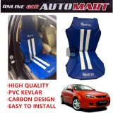 Sparzo Kevlar Carbon 3D Seat Cushion Seat Mat 1 Pc MADE IN THAILAND (BLUE+WHITE LINE) For PROTON SATRIA NEO