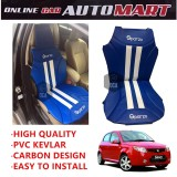 Sparzo Kevlar Carbon 3D Seat Cushion Seat Mat 1 Pc MADE IN THAILAND (BLUE+WHITE LINE) For PROTON SAVVY