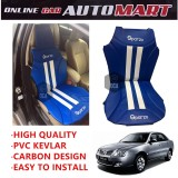 Sparzo Kevlar Carbon 3D Seat Cushion Seat Mat 1 Pc MADE IN THAILAND (BLUE+WHITE LINE) For PROTON WAJA