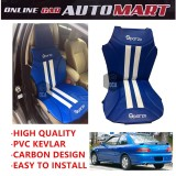 Sparzo Kevlar Carbon 3D Seat Cushion Seat Mat 1 Pc MADE IN THAILAND (BLUE+WHITE LINE) For PROTON PUTRA