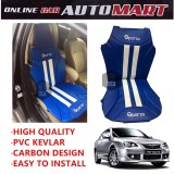 Sparzo Kevlar Carbon 3D Seat Cushion Seat Mat 1 Pc MADE IN THAILAND (BLUE+WHITE LINE) For PROTON PERSONA YR2005-2015