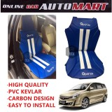 Sparzo Kevlar Carbon 3D Seat Cushion Seat Mat 1 Pc MADE IN THAILAND (BLUE+WHITE LINE) For PROTON EXORA