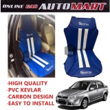 Sparzo Kevlar Carbon 3D Seat Cushion Seat Mat 1 Pc MADE IN THAILAND (BLUE+WHITE LINE) For PROTON SAGA BLM/FLX