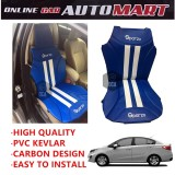 Sparzo Kevlar Carbon 3D Seat Cushion Seat Mat 1 Pc MADE IN THAILAND (BLUE+WHITE LINE) For PROTON PERSONA YR2016