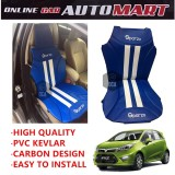 Sparzo Kevlar Carbon 3D Seat Cushion Seat Mat 1 Pc MADE IN THAILAND (BLUE+WHITE LINE) For PROTON IRIZ