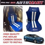 Sparzo Kevlar Carbon 3D Seat Cushion Seat Mat 1 Pc MADE IN THAILAND (BLUE+WHITE LINE) For PROTON PREVE