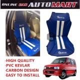 Sparzo Kevlar Carbon 3D Seat Cushion Seat Mat 1 Pc MADE IN THAILAND (BLUE+WHITE LINE) For PERODUA KENARI