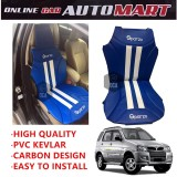 Sparzo Kevlar Carbon 3D Seat Cushion Seat Mat 1 Pc MADE IN THAILAND (BLUE+WHITE LINE) For PERODUA KEMBARA