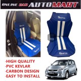 Sparzo Kevlar Carbon 3D Seat Cushion Seat Mat 1 Pc MADE IN THAILAND (BLUE+WHITE LINE) For PERODUA MYVI YR2005