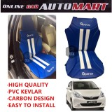 Sparzo Kevlar Carbon 3D Seat Cushion Seat Mat 1 Pc MADE IN THAILAND (BLUE+WHITE LINE) For PERODUA MYVI LAGI BEST/ICON