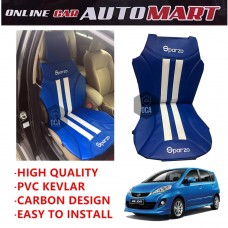 Sparzo Kevlar Carbon 3D Seat Cushion Seat Mat 1 Pc MADE IN THAILAND (BLUE+WHITE LINE) For PERODUA ALZA