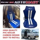 Sparzo Kevlar Carbon 3D Seat Cushion Seat Mat 1 Pc MADE IN THAILAND (BLUE+WHITE LINE) For PERODUA RUSA