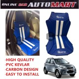 Sparzo Kevlar Carbon 3D Seat Cushion Seat Mat 1 Pc MADE IN THAILAND (BLUE+WHITE LINE) For PERODUA NAUTICA