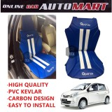 Sparzo Kevlar Carbon 3D Seat Cushion Seat Mat 1 Pc MADE IN THAILAND (BLUE+WHITE LINE) For PERODUA VIVA