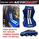 Sparzo Kevlar Carbon 3D Seat Cushion Seat Mat 1 Pc MADE IN THAILAND (BLUE+WHITE LINE) For HONDA CITY YR2008-2013