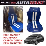 Sparzo Kevlar Carbon 3D Seat Cushion Seat Mat 1 Pc MADE IN THAILAND (BLUE+WHITE LINE) For HONDA CITY YR2014-2015