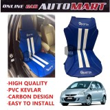 Sparzo Kevlar Carbon 3D Seat Cushion Seat Mat 1 Pc MADE IN THAILAND (BLUE+WHITE LINE) For HONDA JAZZ YR2003-2007