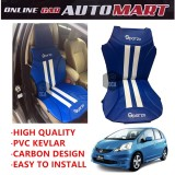 Sparzo Kevlar Carbon 3D Seat Cushion Seat Mat 1 Pc MADE IN THAILAND (BLUE+WHITE LINE) For HONDA JAZZ YR2008-2011