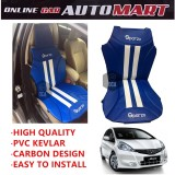 Sparzo Kevlar Carbon 3D Seat Cushion Seat Mat 1 Pc MADE IN THAILAND (BLUE+WHITE LINE) For HONDA JAZZ YR2012-2014