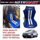 Sparzo Kevlar Carbon 3D Seat Cushion Seat Mat 1 Pc MADE IN THAILAND (BLUE+WHITE LINE) For HONDA CRV YR2008-2011