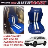 Sparzo Kevlar Carbon 3D Seat Cushion Seat Mat 1 Pc MADE IN THAILAND (BLUE+WHITE LINE) For HONDA CRV YR2016