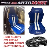 Sparzo Kevlar Carbon 3D Seat Cushion Seat Mat 1 Pc MADE IN THAILAND (BLUE+WHITE LINE) For HONDA HRV