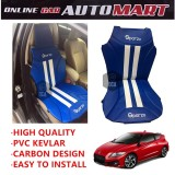Sparzo Kevlar Carbon 3D Seat Cushion Seat Mat 1 Pc MADE IN THAILAND (BLUE+WHITE LINE) For HONDA CRZ